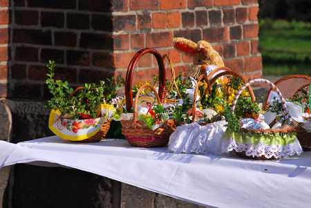 hallelujah: Easter basket before bless by the priest Stock Photo