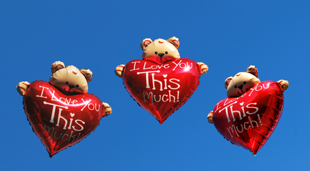 to confess love: Teddy bear holding a heart - I love you this much