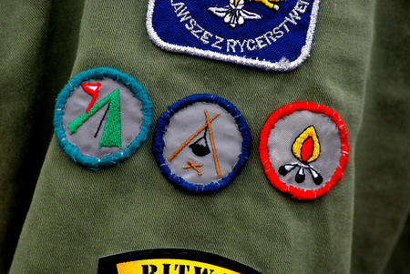 boy scouts tent: Merit badge acquired by the polish scouts