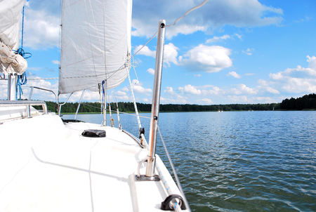 yachting: Actively spending free time while yachting on the lake