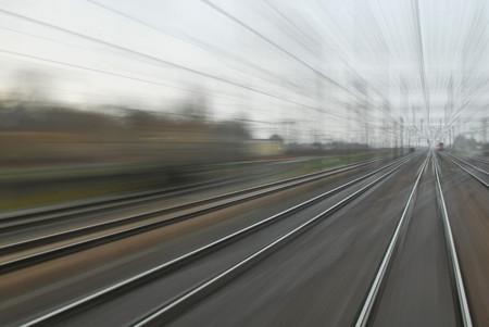 railway points: Railway line Stock Photo