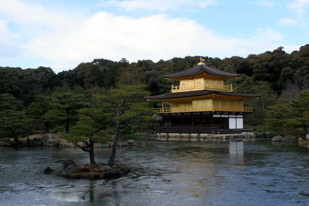 Kinkakuji, Golden Pavilion temple and pond in Kyoto Stock Photo - 7290671