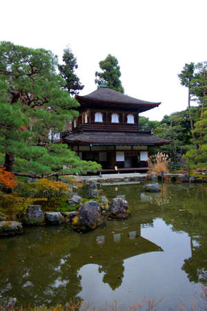 Traditional Japanese temple in Kyoto reflected in a pond,  Ginkaku-ji Silver Pavilion