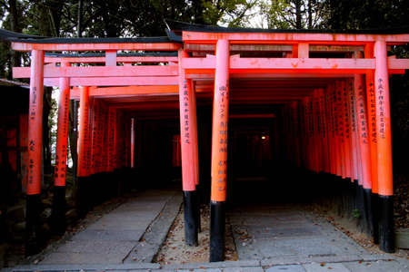 Fushimi Inari in Kyoto, Japan - Red gates (Torii) line the path up the hill Stock Photo - 7298194