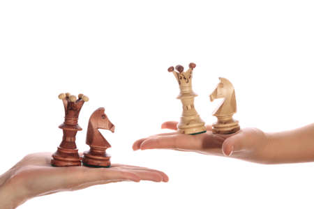 CHESS PIECES ON THE PALMS ISOLATED ON WHITE BACKGROUN Stock Photo - 10056123