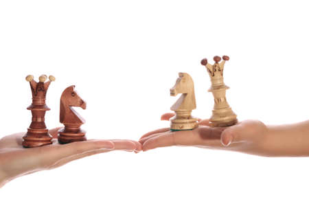 CHESS PIECES ON THE PALMS ISOLATED ON WHITE BACKGROUN Stock Photo - 10056121