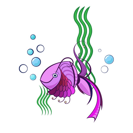 Little violet swimming fish with water bubbles and green water plants Illustration