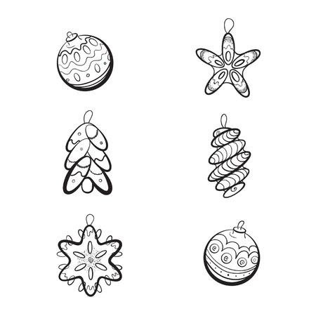 fur tree: Set di sei disegnati a mano Giocattoli di Natale per l'albero di pelliccia su sfondo bianco