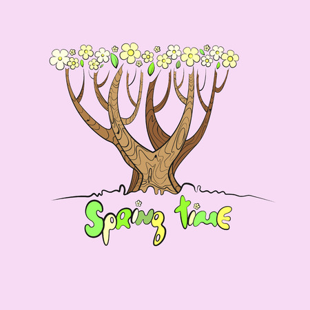 Stylized vector tree with the words spring time below Vector