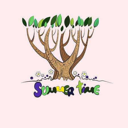 Stylized vector tree with the words summer time below Vector