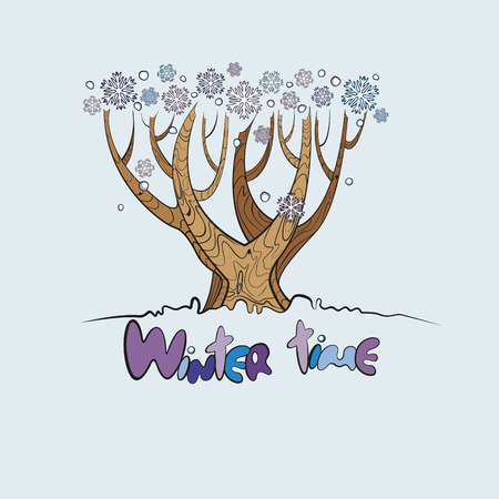 Stylized vector tree with the words winter time below and falling snowflakes Vector