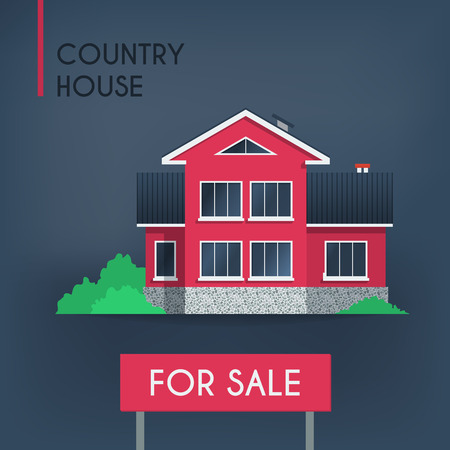 sold small: Pink country house, vector illustration Illustration