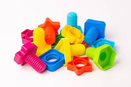 plastic children's constructor bolts and nuts Stockfoto
