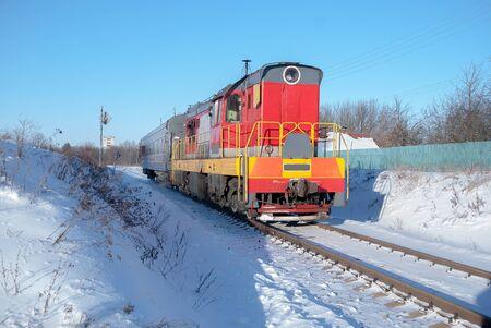 the red train winter railroad