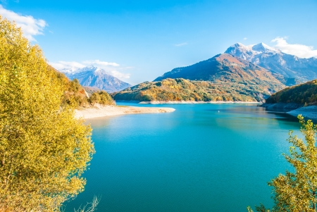 the long lake: Lac de Sautet in Rhone-Alpes Province, France  Stock Photo