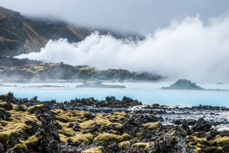 thermal spring: Famous Blue Lagoon, Iceland Stock Photo