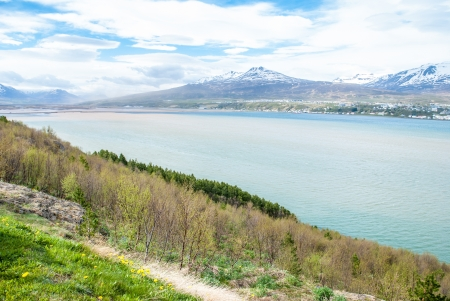 meer: Landscape of Akureyri city, Iceland Stock Photo