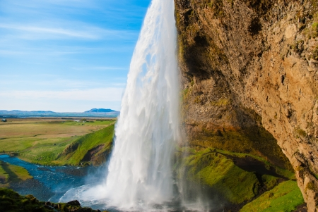 Seljalandsfoss, amazing waterfall in Iceland photo