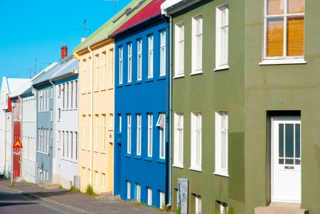 reykjavik: Casas coloridas, Reykjav�k, Islandia Foto de archivo
