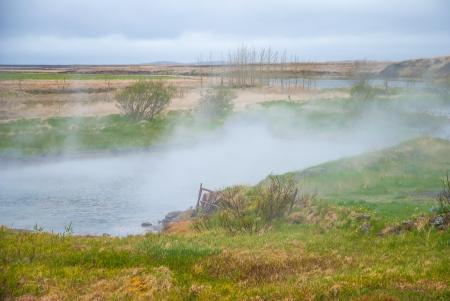 vapore acqueo: Naturale area geotermica in Islanda Archivio Fotografico