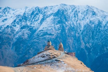 monastery nature: Tsminda Sameba Monastery, Kazbegi, Georgia
