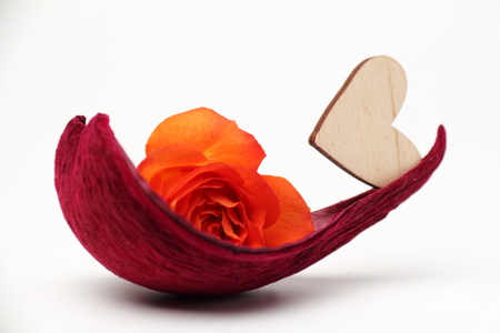 ship with gift: Heart and rose. Petal as a boat with a rose and a wooden heart. White background. Stock Photo