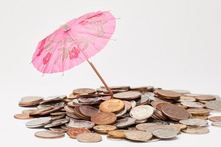 cocktail umbrella: Russian Coins under cocktail umbrella.