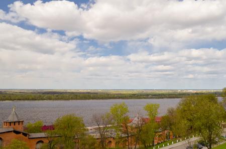 View of center Nizhny Novgorod from Kremlin. Nizhny Novgorod is the fifth largest city in Russia