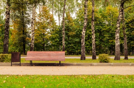 Walking and bench in park Stock Photo