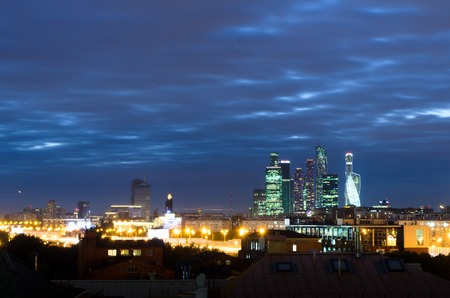 panorama of Moscow at night