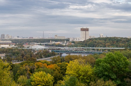 view of the building of the Academy of Sciences and the Metro bridge from Sparrow hills, Moscow, Russia Stock Photo