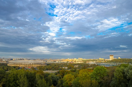 A view of the Luzhniki Stadium from Sparrow Hills at sunset. Moscow