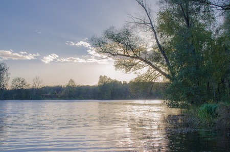 Colourful sunset on the river. Rusiia Stock Photo