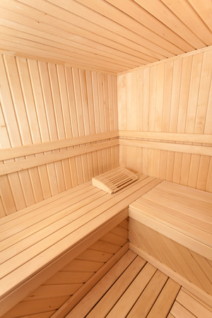 spa still life: Wide angle photo of wooden sauna