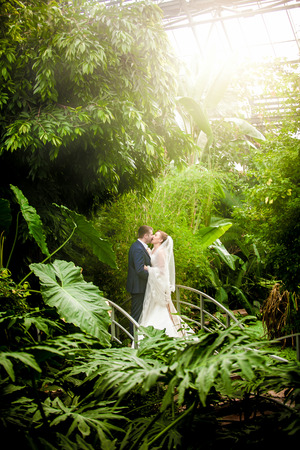 Beautiful just married couple kissing on sunny day at rain forest photo