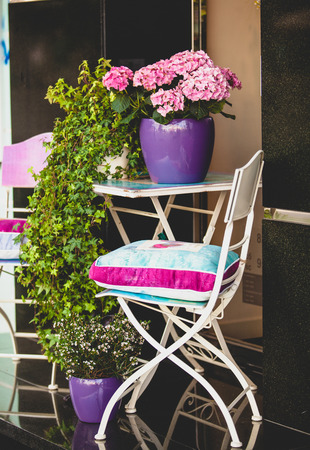 chair garden: Decorative metal chair, garden table and plants in pots