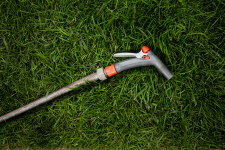 hosepipe: Closeup photo of garden hosepipe lying on fresh green grass