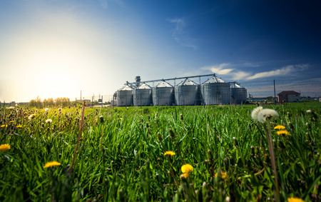 Beautiful photo of grain elevators in meadow at sunset