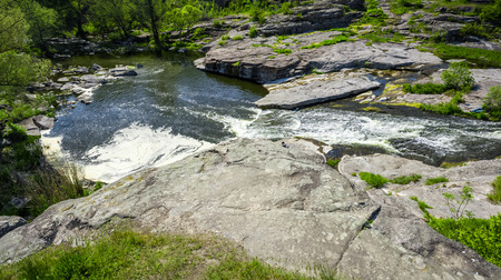 riverbed: Natural landscape of forest and fast mountain river