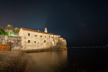 Beautiful landscape of Budva fortress at night, Montenegro photo