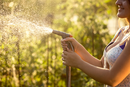 hosepipe: Closeup photo of woman watering garden with hosepipe at hot sunny day