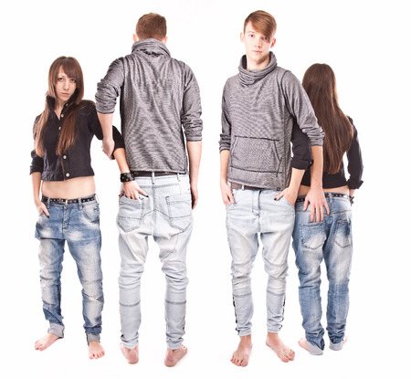 Isolated full length portrait of couple from back and front Stock Photo