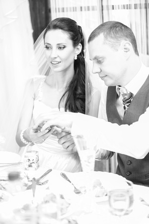 Black and white closeup portrait of newly married couple drinking champagne on banquet photo