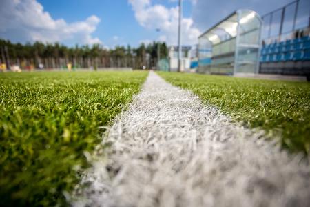 campeonato de futbol: Foto granangular de marcar en el campo de f�tbol de hierba