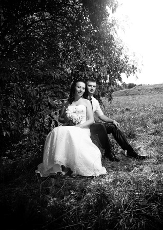 Black and white portrait of newly married couple sitting under tree at park photo