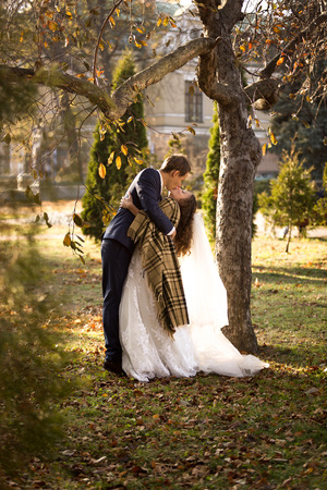 passionately: Beautiful just married couple kissing passionately under tree at autumn park Stock Photo