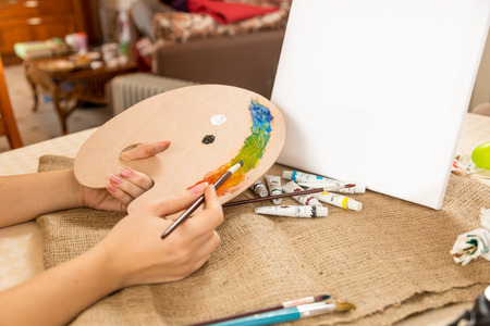 picture person: Conceptual photo of drawing hobby at home