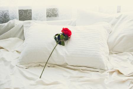 Foto en tonos de rosa roja tendida en la cama por la mañana