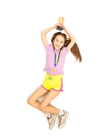 point of view: Isolated photo from high point view of happy girl jumping high after taking first place in competition Stock Photo