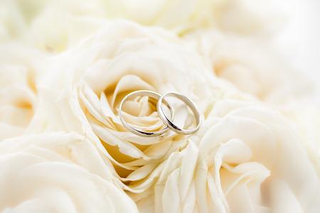 Macro tiro di due anelli di nozze di platino che si trova sul rose bianche